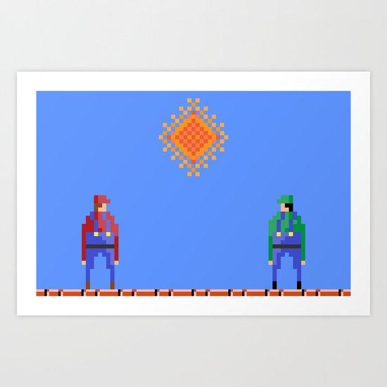 Mario vs Luigi Art Print