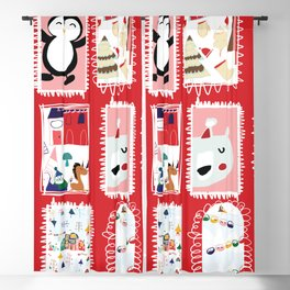 Christmas around the World red #Christmas Blackout Curtain