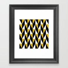 Mustard & black triangle mid-century pattern Framed Art Print