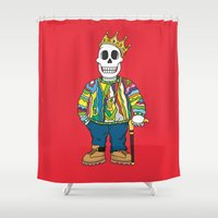 biggie smalls Shower Curtains featuring Biggie Skulls by Zhi-Yun