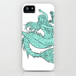 Mermaid Grappling With Sea Serpent Drawing Color iPhone Case