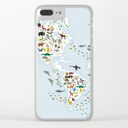 Cartoon animal world map for children and kids, Animals from all over the world Clear iPhone Case