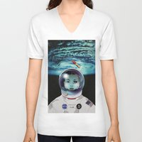 pilot V-neck T-shirts featuring Miss Space Pilot by SEVENTRAPS