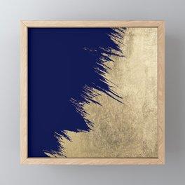 Navy blue abstract faux gold brushstrokes Framed Mini Art Print