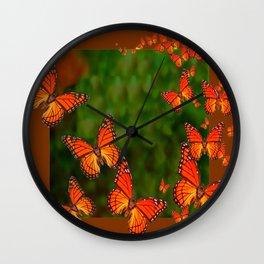 Green Brown Art Monarch Butterflies Migration Wall Clock