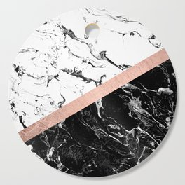 Modern black white marble color block rose gold Cutting Board