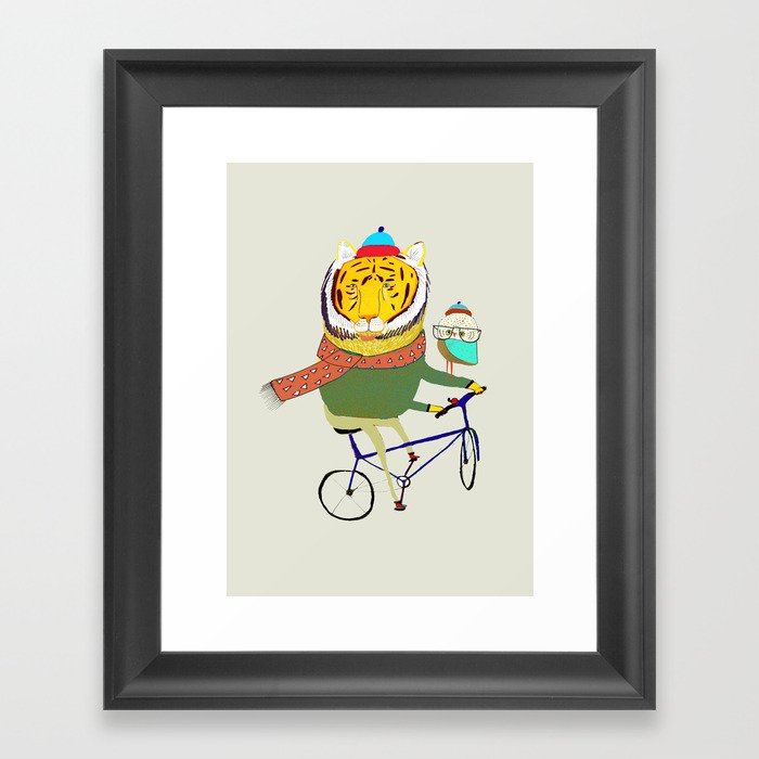 Tiger and Owl biking. Framed Art Print
