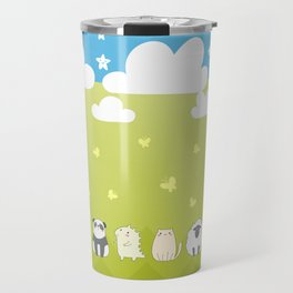 Cute Animals Art, Colorful Art with Clouds, Stars, Grass And Blue Sky Travel Mug