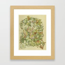 """Alphonse Mucha """"Printed textile design with hollyhocks in foreground"""" Framed Art Print"""