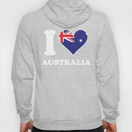 I Love Australia Australian Flag Heart Hoody