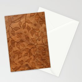 Brown Wood Carved Leafs Pattern Stationery Cards