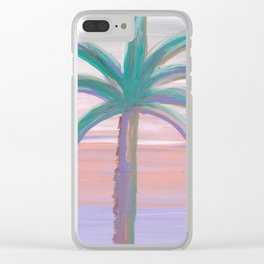palm tree in front of a southwest sky Clear iPhone Case