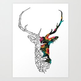 STAG FLORAL Art Print