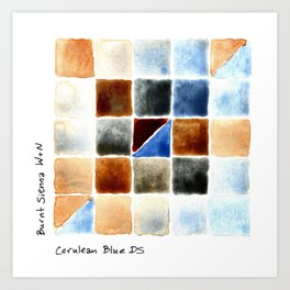 Color Chart - Burnt Sienna (W&N) and Cerulean Blue (DS) Art Print