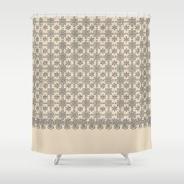 Warm Sepia Crochet Square Lace Pattern Shower Curtain