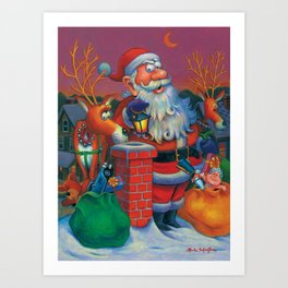 Santa's in a Tight Spot Art Print