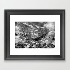 Waterfall Snowfall Framed Art Print