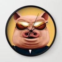 pigs Wall Clocks featuring PIGS by Brandon Juarez