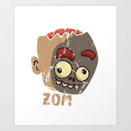Cute Zombae Zombie Graphic Halloween  Art Print