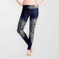 abstract art Leggings featuring Cream Floral Moroccan Pattern on Deep Indigo Ink by micklyn
