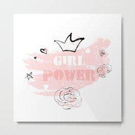Girl Power rose blush Metal Print