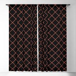 Pantone Living Coral Thin Line Stripe Grid (Pinstripe Pattern) on Black Blackout Curtain