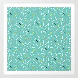 confettie pattern turquoise Art Print