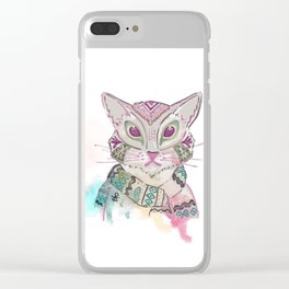 Watercolor Cat Clear iPhone Case