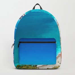 Nice, France Coastline Watercolor Backpack
