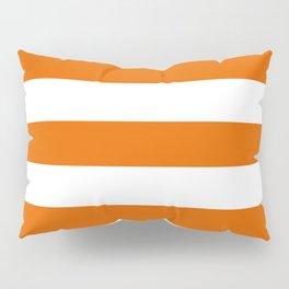 Spanish orange - solid color - white stripes pattern Pillow Sham