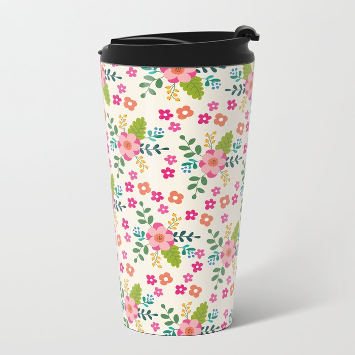 Pink Fuchsia Spring Flower Pattern Metal Travel Mug