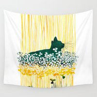 clover Wall Tapestries featuring Clover Cat by Priscilla Moore