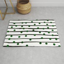 Modern black forest green polka dots stripes Rug