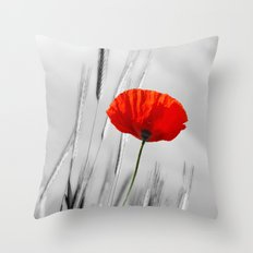 Poppy Red 070 Throw Pillow