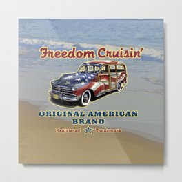 Freedom Crusin' Hawaiian Woody Design Metal Print