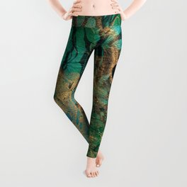 Green and Gold marbled paper Leggings