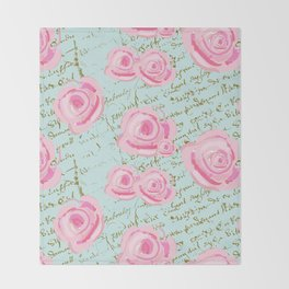 Pink  Roes and French Script Throw Blanket