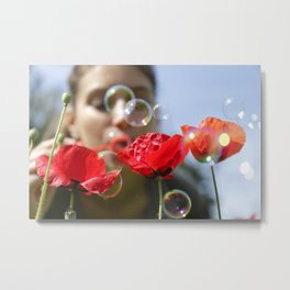 Red poppies fun bubbles and beautiful Russian outdoor girl Metal Print