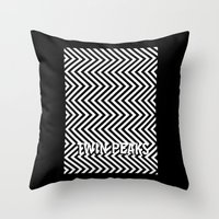 twin peaks Throw Pillows featuring Twin Peaks by Spyck
