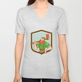 Paul Bunyan LumberJack Shield Cartoon Unisex V-Neck