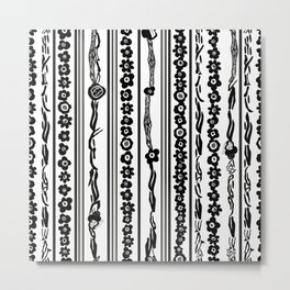 Exaggerated Stripe With Black Flowers Metal Print