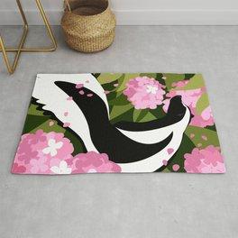 Springtime Skunk Among the Flowers Rug