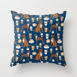 Boxer dog breed coffee pet gifts boxers pupuccino Throw Pillow
