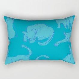 Cat Crazy teal circle Rectangular Pillow