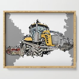 Tractor with tracks ploughing Serving Tray