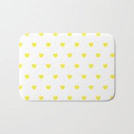 HEARTS ((sunshine yellow on white)) Bath Mat