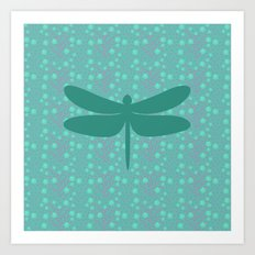 pattern with dragonfly 2 Art Print