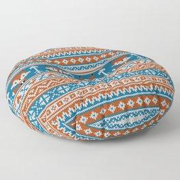Fair Isle Fox - Blue Floor Pillow