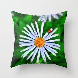 Blue daisy and a ladybird Throw Pillow