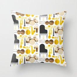 Jazz instruments Throw Pillow